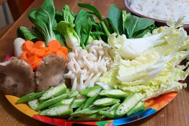 Lẩu nấm chay - sơ chế nấm, rau củ