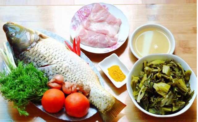 Nguyên liệu chuẩn bị cho món canh cá nấu dưa