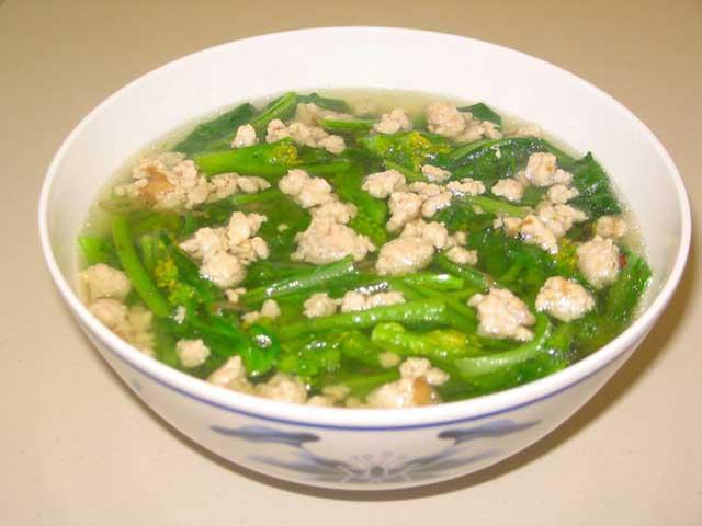 Canh cải ngọt thịt bằm