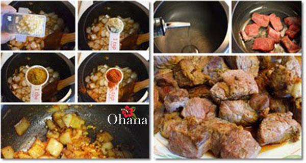 Các bước nấu cà ri bò