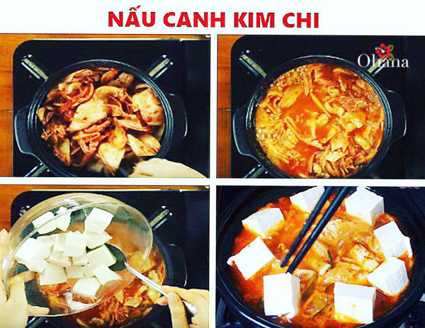 Thực hiện nấu canh kim chi